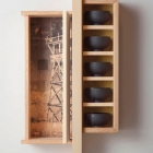 Watchtower, 2008, pine, Sitka spruce, fir, ink, painted wooden bowls, glass, 35 x 15 x 6 inches