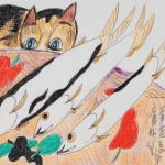 Cat with Okinawa White Fish, 1999 – 2006, mixed media, courtesy of Jimmy Tsutomu Mirikitani and Linda Hattendorf; loaned by the Wing Luke Museum of the Asian Pacific American Experience, Seattle