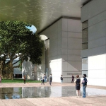 Rendering of the new Foster + Partners-designed Norton Museum of Art plaza and entrance along S. Dixie Highway, West Palm Beach