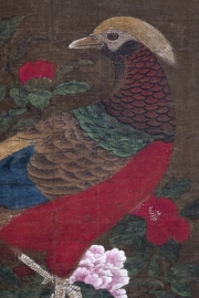 Close-up of a Ming Dynasty painting of a pheasant by an anonymous author