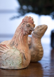 Tang Dynasty ceramic chicken and snake Zodiac animals