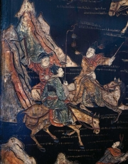 Details from a Qing Dynasty folding screen at the home of John Niblack.