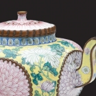 Teapot with Chrysanthemum Motif, 1736-1795 (enamel and copper; The Newark Museum, gift of Sophie and Lisa Downer). Courtesy of the Norton Museum of Art