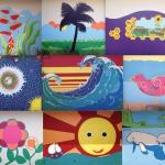 Paint Up Pine Grove! Group Artist Collage from top to bottom, left to right: Sharon Kurlychek, Sharon Koskoff, Meg Goddard Gladys Beltran, Deborah Matsunaye, Haydee Ullfig, Sharon Koskoff, Steve Brouse and Agata Ren.