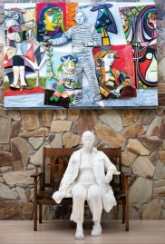 From top: <i>Picasso, Wives, Lovers, and Offspring</i> (1993), Larry Rivers; <i>Woman on a Bench II</i> (1980), George Segal