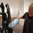 Boca Raton Museum of Art Curator Kathy Goncharov preparing a newly arrived sculpture by Henri Laurens. (From the Dr. and Mrs. John J. Mayers Collection)