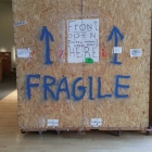 Crate for an 8-foot tall sculpture arriving at the Boca Raton Museum of Art in 2014