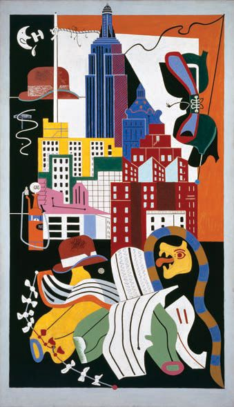 <i>New York Mural</i> (1932), Stuart David, from the Norton's American Collection. Purchase, R.H. Norton Trust/© Estate of Stuart David/Licensed by Vaga, New York