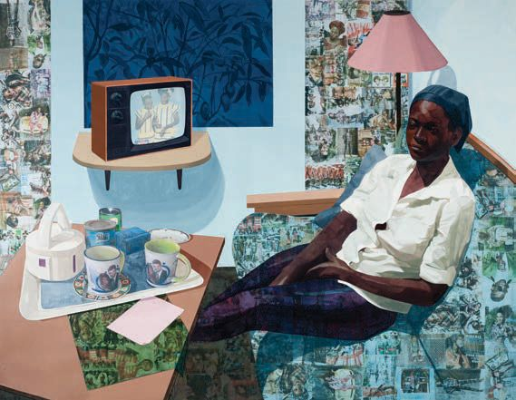 <i>Super Blue Omo</i> (2016), Njideka Akunyili Crosby, from the Norton's Contemporary Collection. Purchase, Through the Generosity of Jim and Irene Karp, 2016/© Njideka Akunyili Crosby/Courtest Victoria Miro Gallery