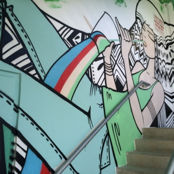2013 start of Evernia Garage Mural Stairwell