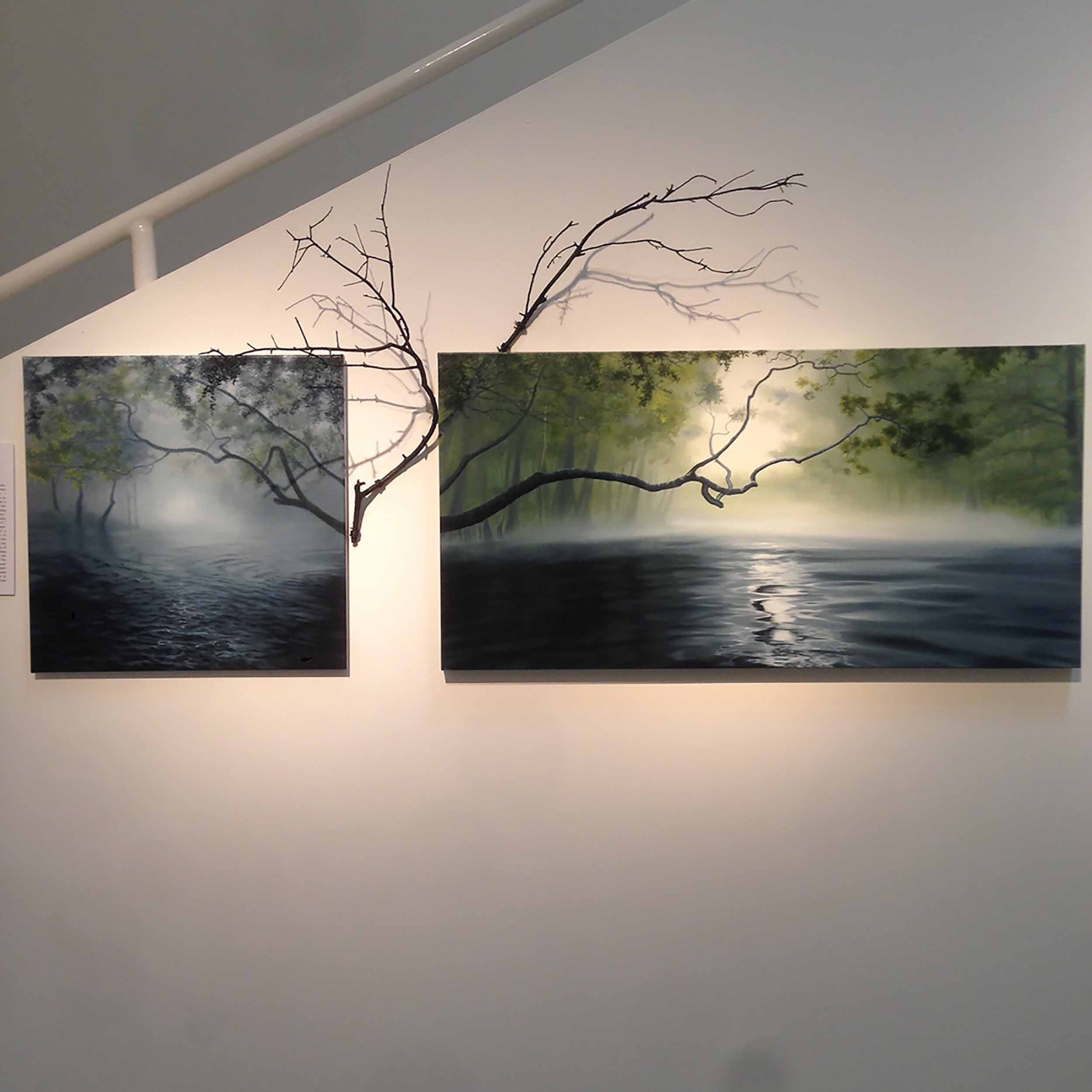 Partially Obscured, 2014, oil on canvas, tree branches, 32 x 66½ x 16 inches