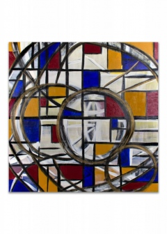 "<i>Ode to Mondrian</i>, acrylic on canvas, 48"" x 48"""