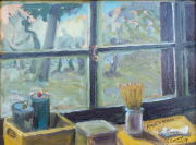 <i>Artist Studio in Cetona</i>, oil on wood, 9 x 12