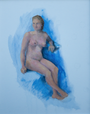 <i>Blue Nude</i>, oil on canvas, 16 x 20