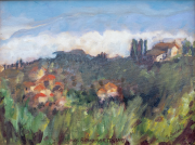 <i>Clouds Rising Over Tuscany</i>, oil on canvas, 9 x 12