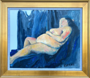 <i>Fat Lady Reclines</i>, oil on canvas, 20 x 24