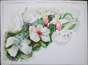 Flowers-and-Bad-Cat-water-color-on-paper-22-x-30