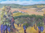 <i>Grape harvest</i>, oil on canvas panel, 9 x 12