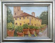 <i>Master Villa</i>, oil on wood panel, 12 x 16