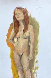<i>Red Hair Nude Study</i>, oil on paper, 10 x 14