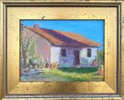 <i>Tuscan Farmhouse</i>, oil on wood board, 9 x 12
