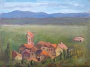 <i>Tuscan Steeple</i>, oil on canvas panel, 9 x 12
