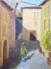 <i>Tuscan Townscape</i>, oil on canvas panel, 9 x 12