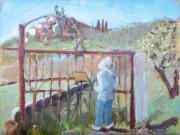 <i>View of Scofieno Through Gates</i>, oil on canvas panel, 9 x 12