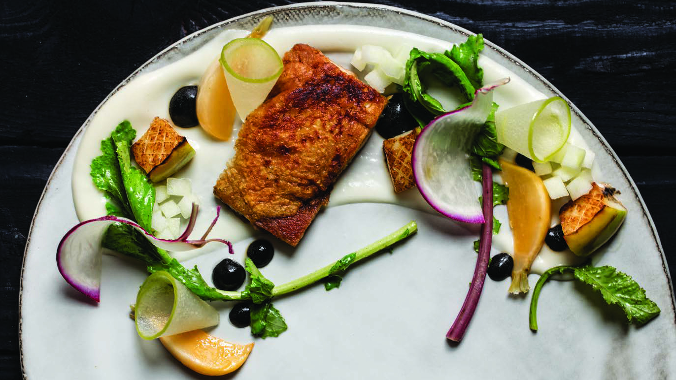 Crispy Chicken Thigh with Turnips and Apples